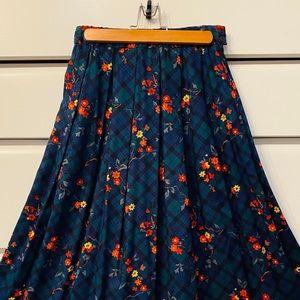 COPY - Vintage Pleated Flower Plaid Midi Skirt w/…